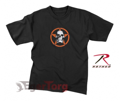 KIDS BLACK   SKULL IN RED STAR   T-SHIRT