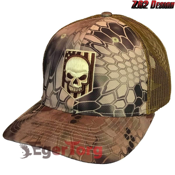 БЕЙСБОЛКА Kryptek Highland Embroidered Skull Trucker