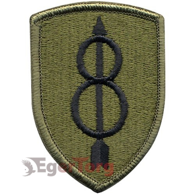 Нашивка приглушенная плечевая   Golden Arrow Division     -  72107 U.S. Army 8th Infantry Division   Golden Arrow Division    Subdued Patch