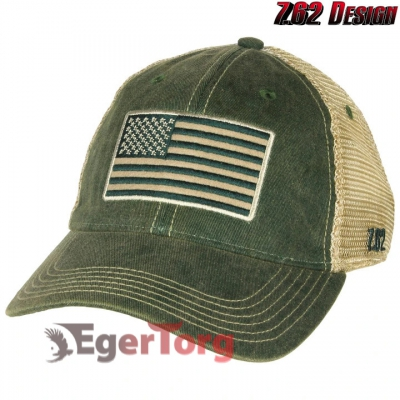 Бейсболка Tactical US Flag Vintage Trucker Hat Green