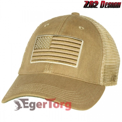 Бейсболка Tactical US Flag Vintage Trucker Hat Coyote