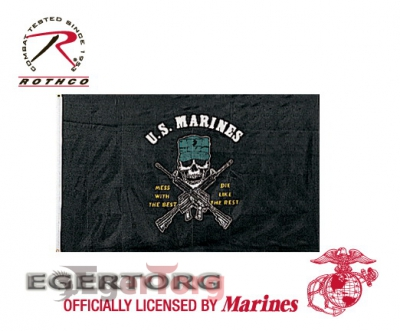 Флаг морских пехотинцев  -  1477 U.S. MARINES MESS WITH THE BEST  -  DIE LIKE THE REST 3' x 5' FLAG