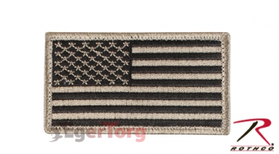 Нашивка флаг США  -  17782 KHAKI  -  BLACK AMERICAN FLAG PATCH WITH HOOK AND LOOP