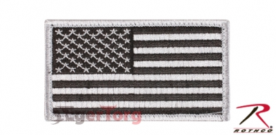 Нашивка флаг США  -  17781 SILVER  -  BLACK AMERICAN FLAG PATCH WITH HOOK AND LOOP