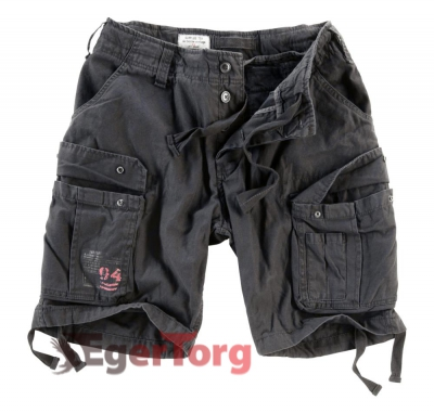 Шорты SURPLUS AIRBORNE VINTAGE SHORTS BLACK WASHED