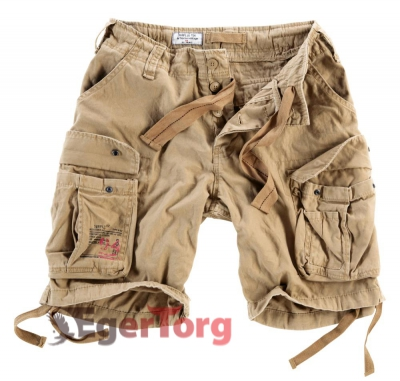 Шорты SURPLUS AIRBORNE VINTAGE SHORTS BIEGE WASHED